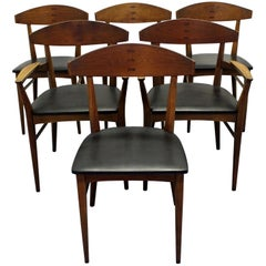 Set of Six Mid-Century Modern Paul McCobb 'Component' Walnut Dining Chairs