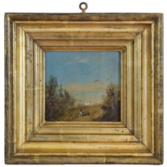 Small Oil on Board in Period Giltwood Frame, Horseman Approaching Harbour