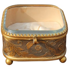 Antique Ring Box Bronze and Beveled Glass