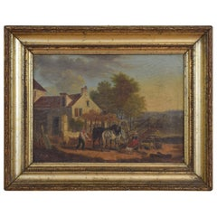 French Oil on Canvas in Giltwood Frame, Genre Scene with Farmhouse, 19th Century
