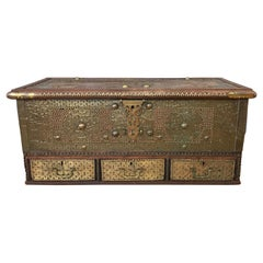 Antique Middle Eastern Brass-Clad Wood Sailor's Chest