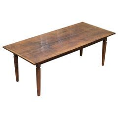 Rare Two Plank Top Solid Chestnut Wood Refectory Dining Table Seats Ten
