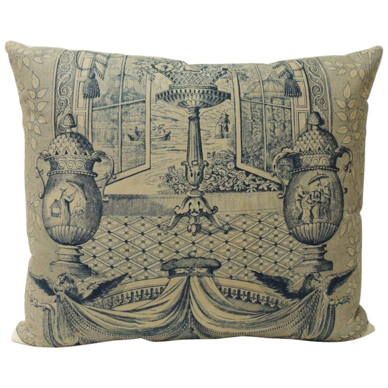 40th Century Blue And Natural Toile Decorative Pillow For Sale At Beauteous Toile Decorative Pillows