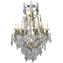 French Louis XV Style Gilt-Metal and Cut-Glass 'Crystal' Ten-Light Chandelier