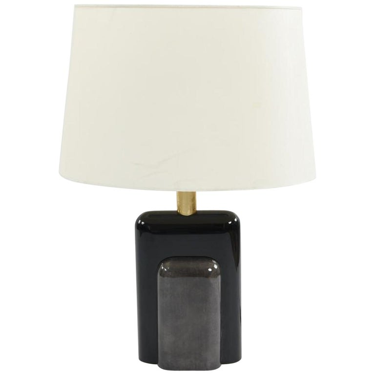 Italian Moderne Goatskin and Lacquer Lamp For Sale