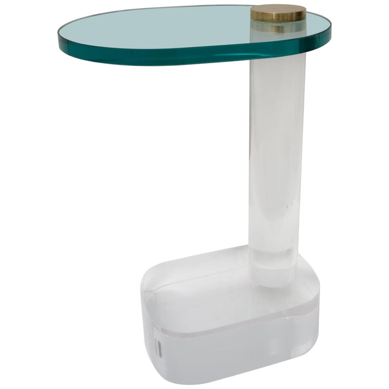 Side Table in Lucite, Brass and Glass