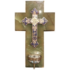 19th Century French Brass & Cloisonné Cross with Holy Water Font on Green Marble