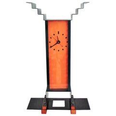 1983 G. Sowden Oppenheimer Table Clock Orange Green Enameled Steel Stained Ash