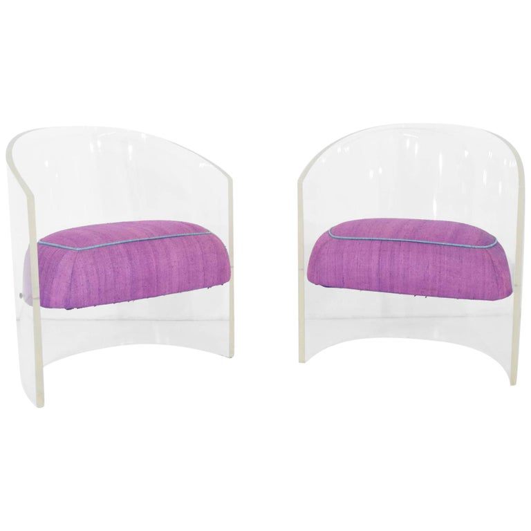 Pair of Vladimir Kagan Lucite Barrel Chairs in