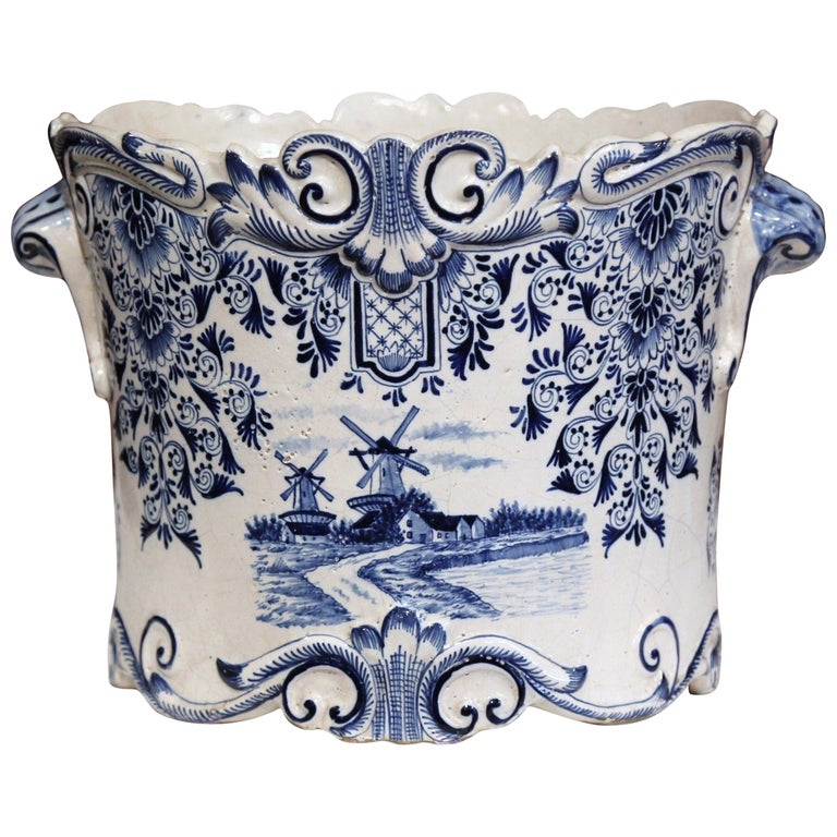 Large 18th Century French Hand-Painted Blue and White Ceramic Delft Cachepot