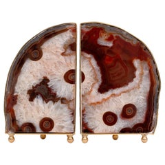 Pair of Unique Agate Stones and Brass Bookends