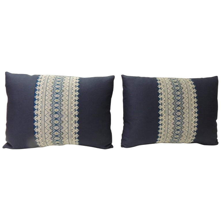 Pair Of Vintage Blue And White Embroidered Asian Decorative Lumbar Pillows For