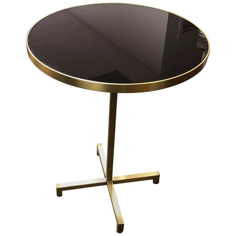 Re Brass Side Table With Black Mirror Glass For Sale At Stdibs - Black and brass side table