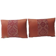 Pair of 19th Century Woven Red Fez Textile Bolster Decorative Pillows