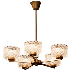 1960s Brass and Crystal Chandelier by Carl Fagerlund for Orrefors