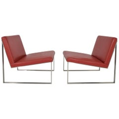 Pair of Bernhardt Red Vinyl Lounge Chairs