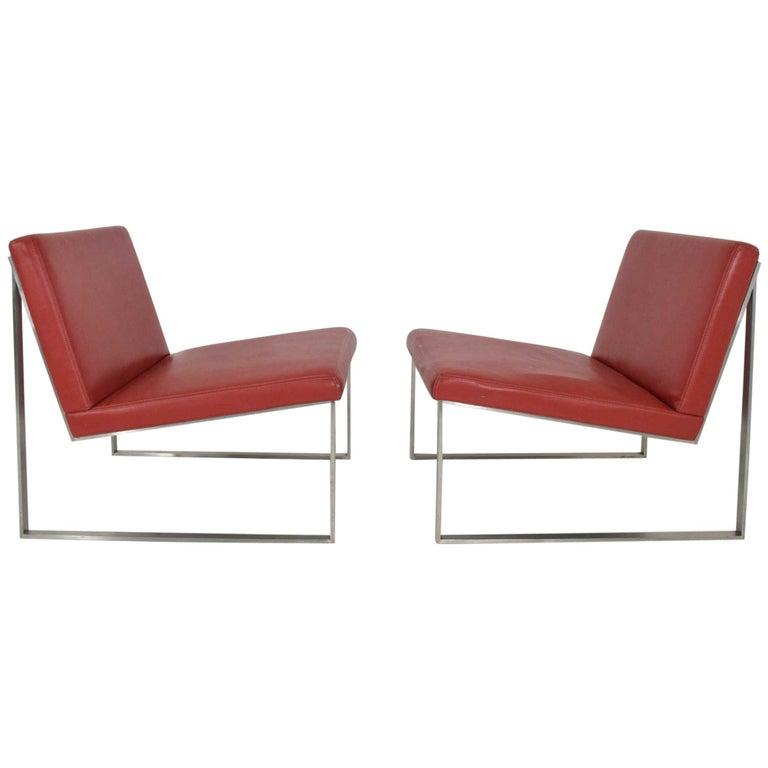 Pair of Bernhardt Red Vinyl Lounge Chairs