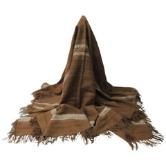 Large Vintage Brown and White Woven Wool Throw with Hand-Knotted Fringes