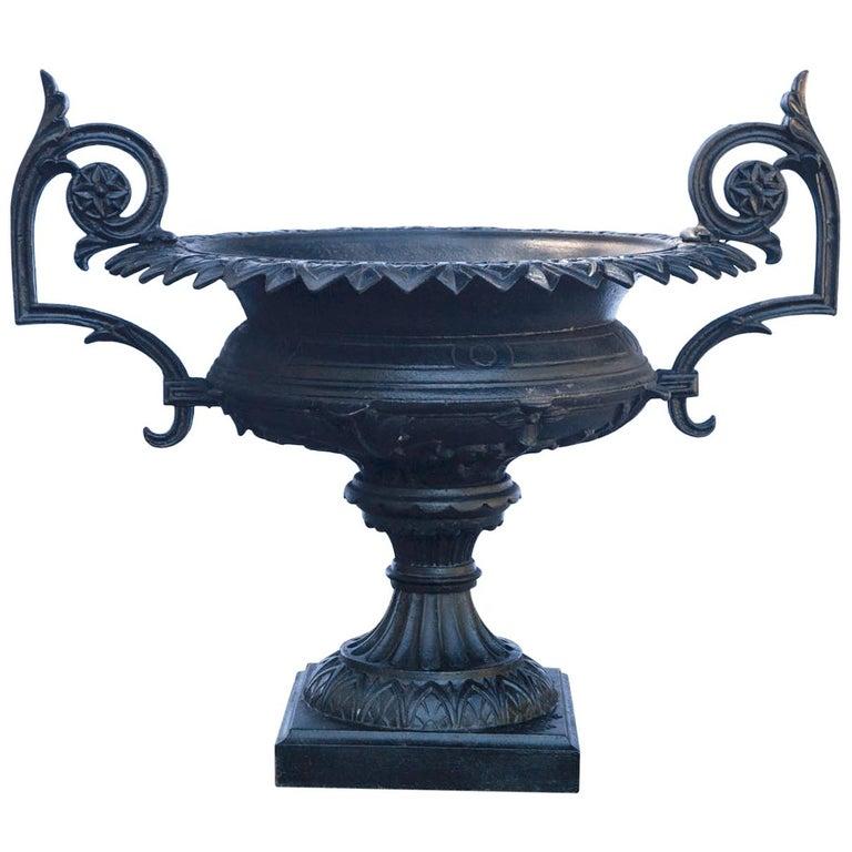 1880 Fiske Cast Iron Twin Handled Urn For Sale