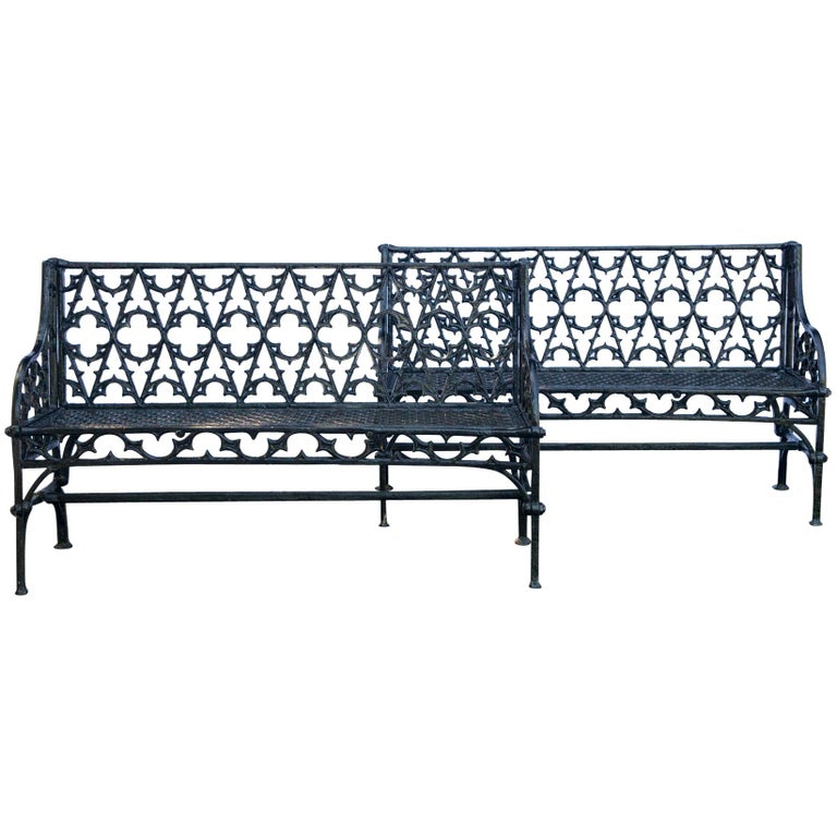 Pair of Black Gothic Style Cast Iron Benches For Sale