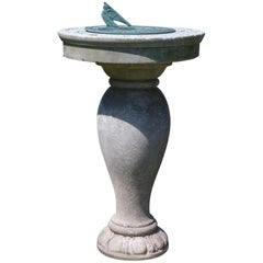1880s Carved Marble and Bronze Sundial