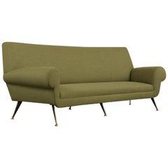 Stylish Italian Sofa Brass Legs, circa 1970s