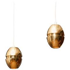 Pair of Brass 'Egg' Pendants by Hans-Agne Jakobsson, 1960s