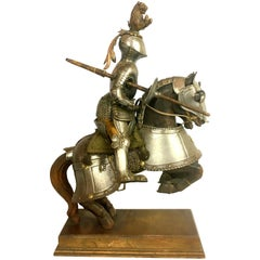 19th Century Metal and Wooden Model of 15th Century Armored Knight on Horseback