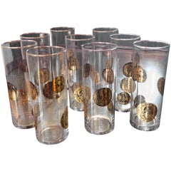 Set of Nine Piero Fornasetti High Glasses, Italy, 1970s