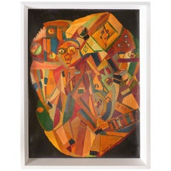 Petite 1947 Cubist Abstract Oil Painting Signed Eisman