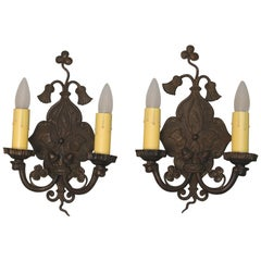 Antique Pair of 1920s Double Sconces with Thistle Motif