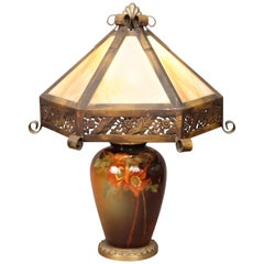 Signed Weller Arts & Crafts Lamp with Hand-Painted Poppies by Albert Haubrich