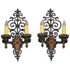 Large Scale Spanish Revival Double Sconces