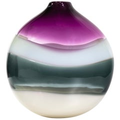 Handblown Glass Vase, Amethyst Banded Series by Siemon & Salazar