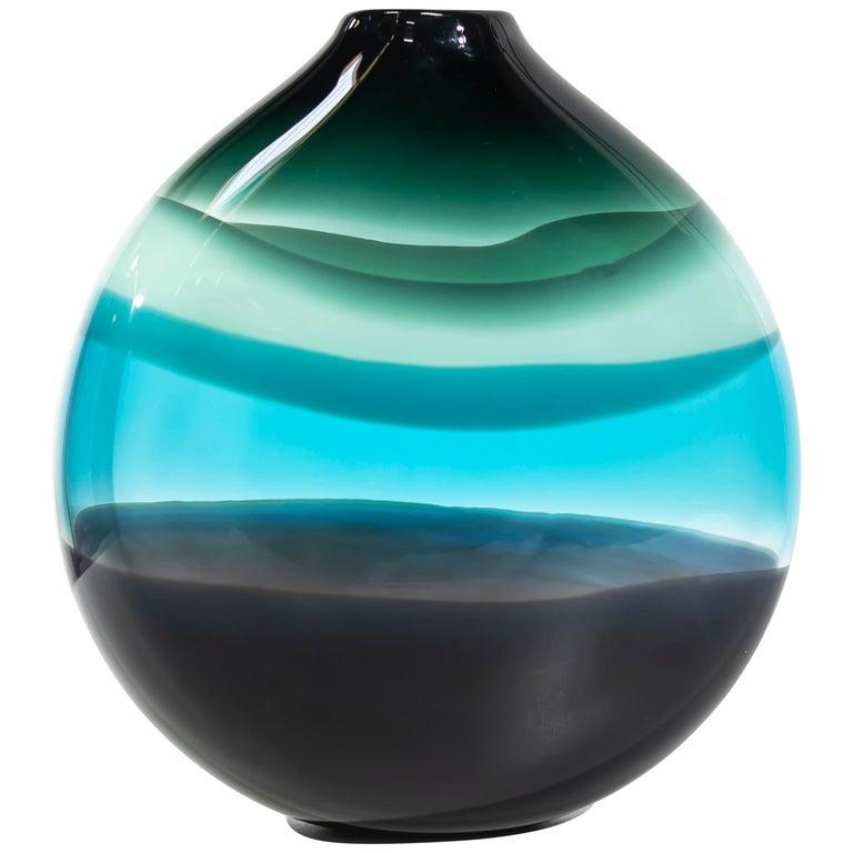 Modern Vase, 4 Banded Aqua Flat Round, Handblown For Sale