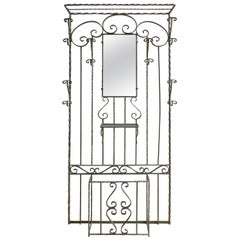 French Art Deco Wrought Iron Hall Stand