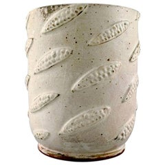 Christian Poulsen, Cylindrical Unique Vase of Stoneware Modeled with Bellows