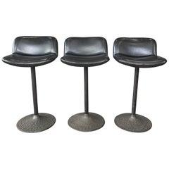 Set of Three Ilmari Tapiovaara Caribe Swivel Barstools