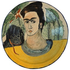 Mexican Studio Pottery Frida Kahlo & Her Monkeys Centerpiece
