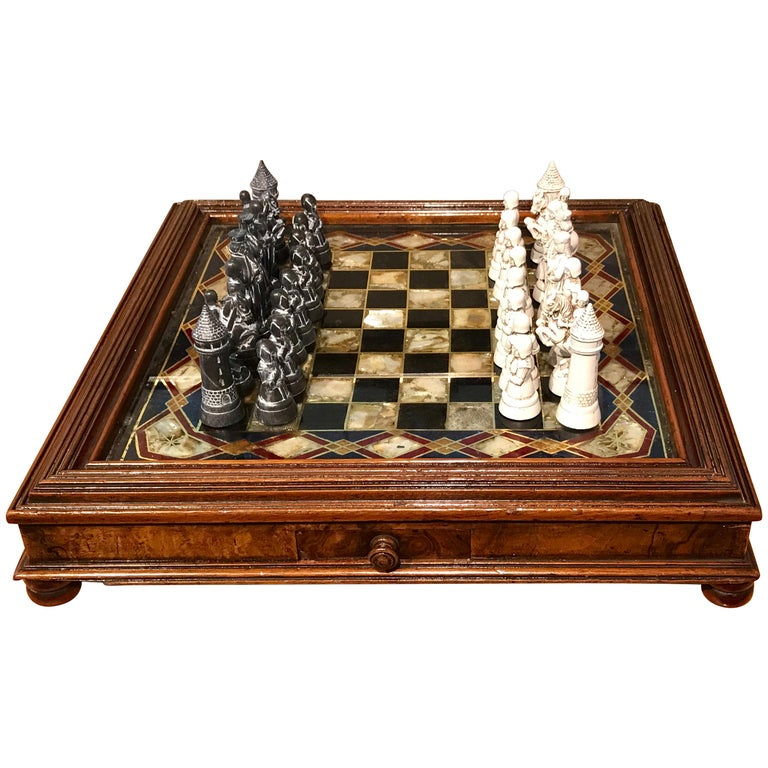 Victorian Reverse Painted Chess Board with Associated Chess Set