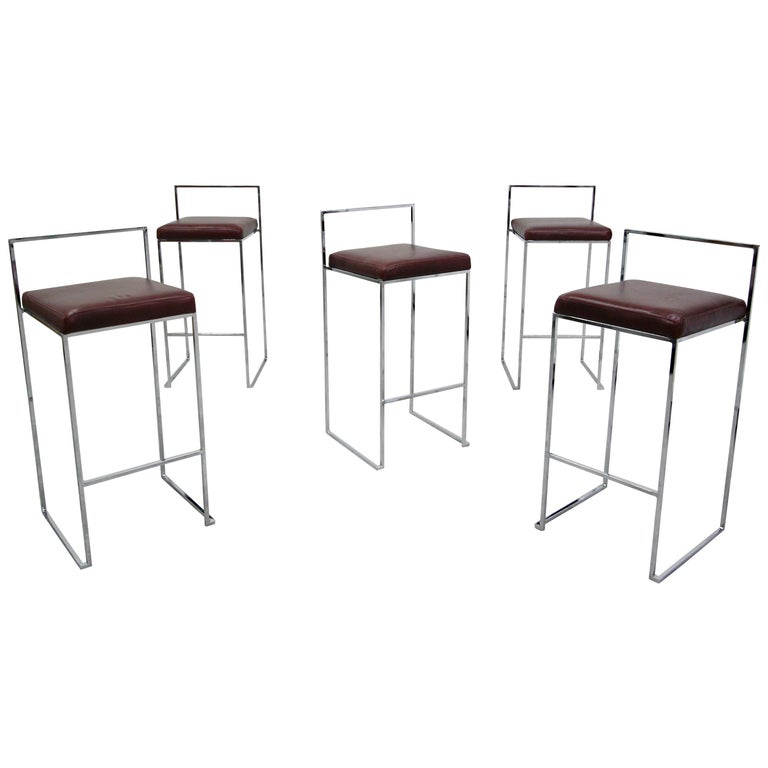 Set of Fivethin Line Chrome and Leather Bar Stools by Milo Baughman For Sale