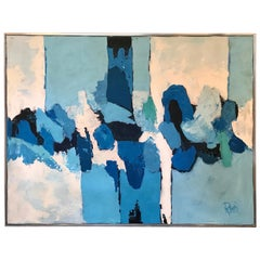 """Shades of Blue"" Abstract Oil Painting by Lee Reynolds"