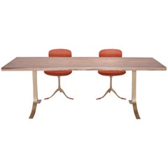 Writing/Dining Table, Antique Hardwood Slab, Sand-Cast Base, by P. Tendercool
