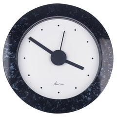 Memphis Wall Clock, Blue, Black by du Pasquier and Sowden for Neos, Italy, 1980s