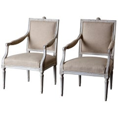 Armchairs Pair of Swedish Gustavian, 1790-1810 White Beige, Sweden