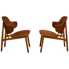 Vintage Pair of Danish Ib Kofod-Larsen Teak Shell Chairs
