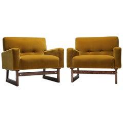 Jens Risom style mid-century modern gold velvet armchairs