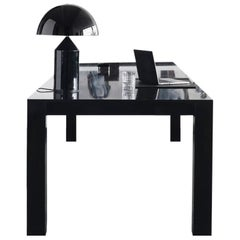Contemporary Office Desk in Black High Gloss Lacquered Oak