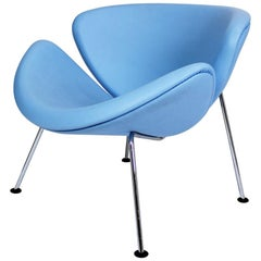 Pierre Paulin for Artifort Original Baby Blue Leather Orange Slice Chair