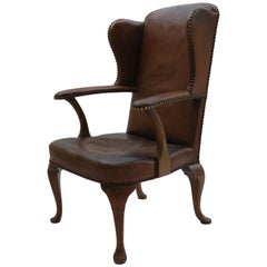 1940s Danish Leather and Oak Armchair by Handsen Lysberg and Therp